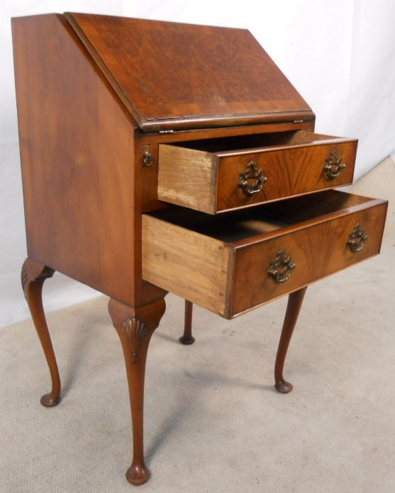 - SOLD - Antique Queen Anne Style Walnut Ladies Writing Bureau Desk